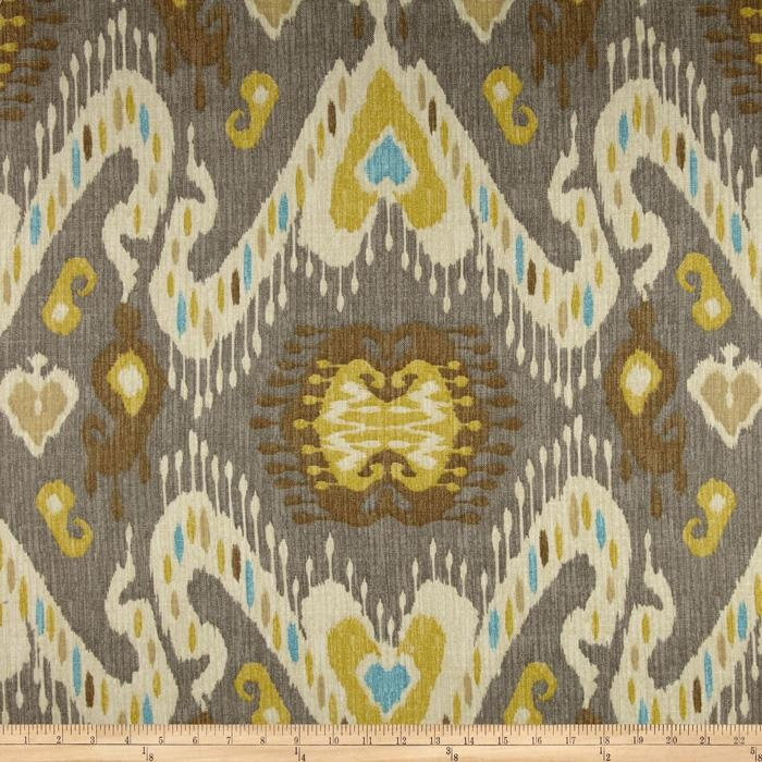 Waverly Taupe/Grey and Gold Ikat Curtain Panels / Custom Drapery in ...