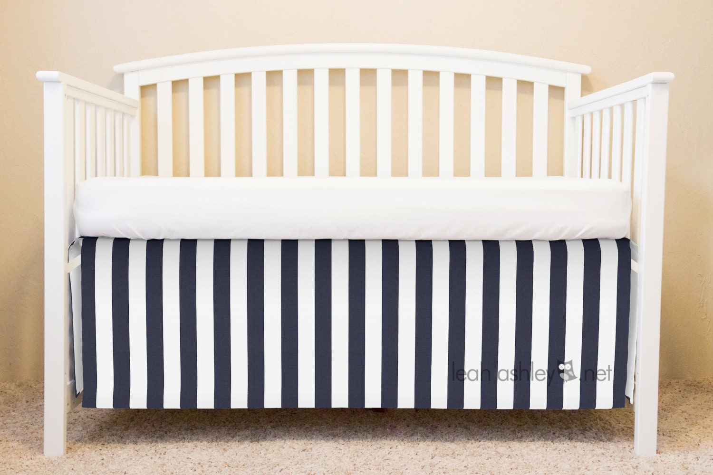 crib skirt bumperless crib bedding navy white by leahashleyokc