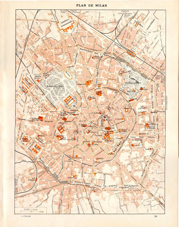 Vintage City Map Of Milan Italy Street Plan 1923