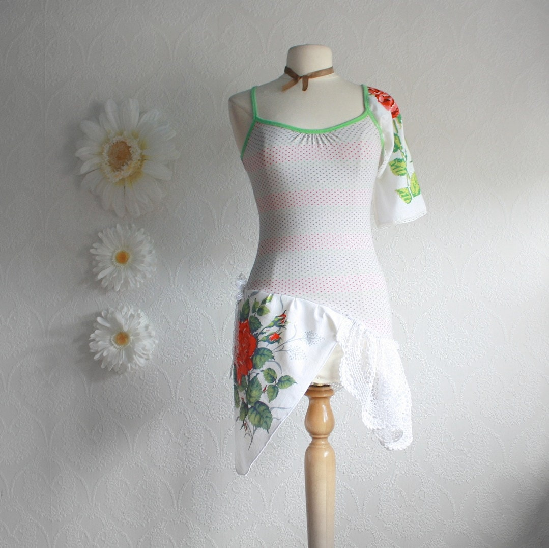 upcycled clothing shabby chic top one sleeve shirt by