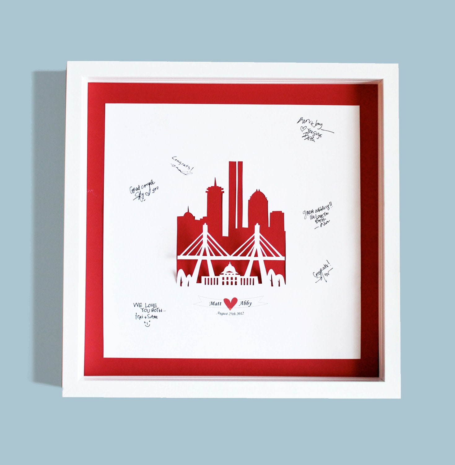 "Unique Wedding Guest Book  - Modern 3D City Cut out Guest Book 16""x16"""