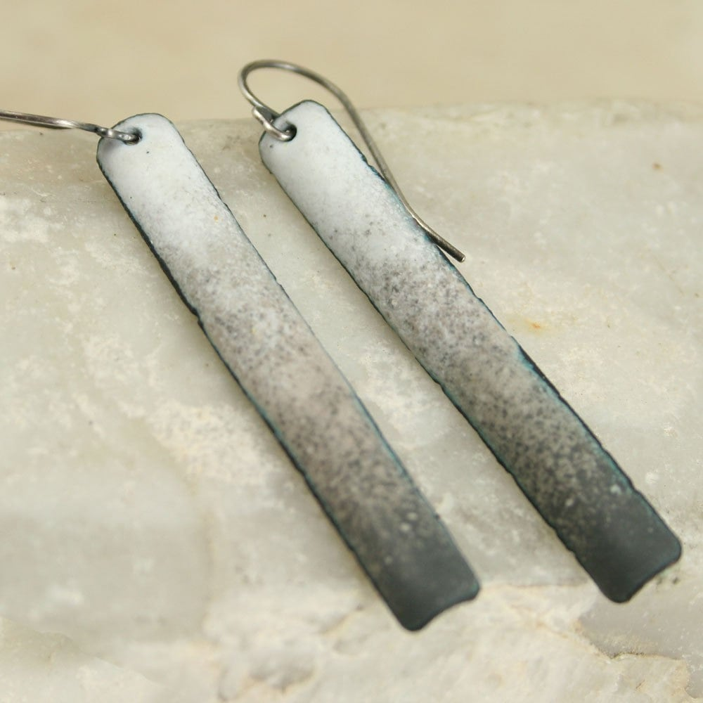 White to Gray Neutral Tones Copper Enamel Long and Skinny Dangles Long Skinny - tekaandzoe