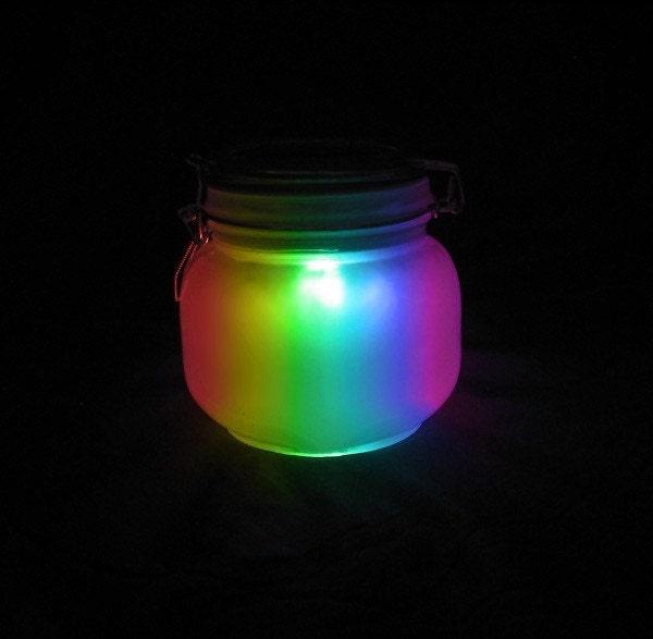 Mason Sun Jar Solar Night Light Lantern Rainbow Multi By