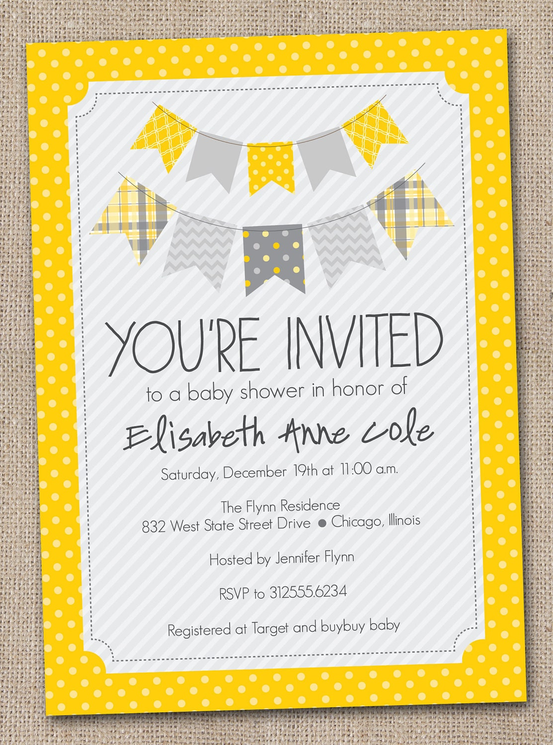 printable baby shower invitation yellow and by inkobsessiondesigns