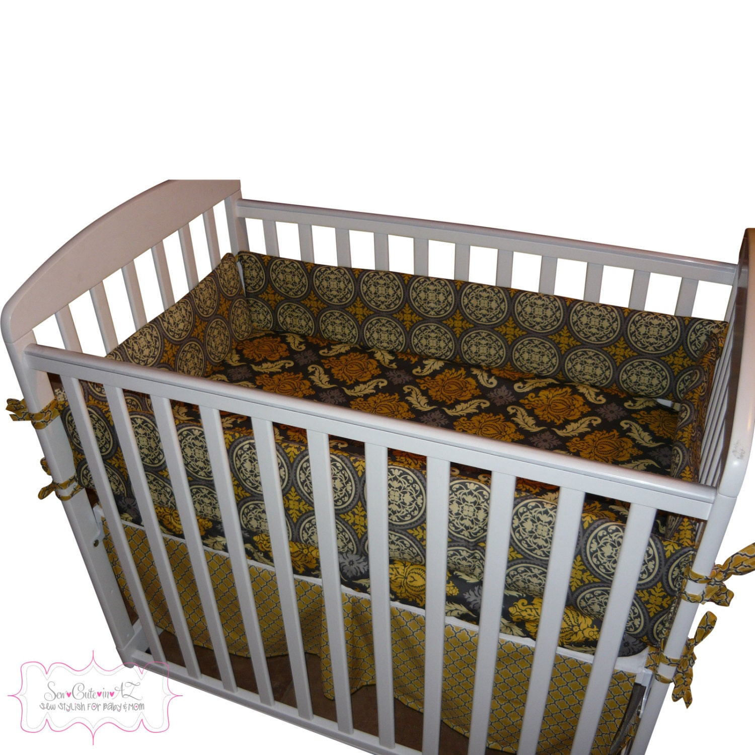 Items similar to design your own mini crib bedding set on etsy for Design my own bed set