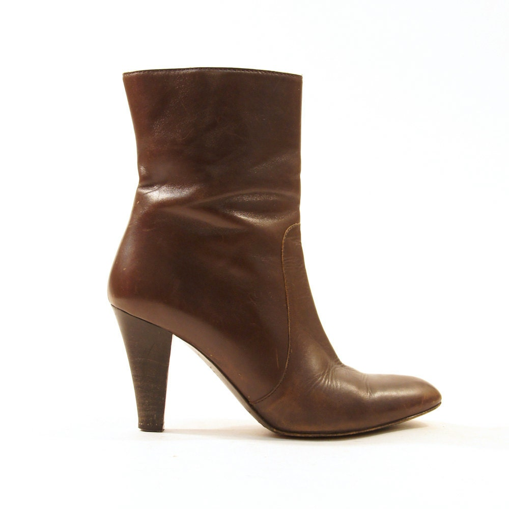 coach zip up ankle boots brown leather s by