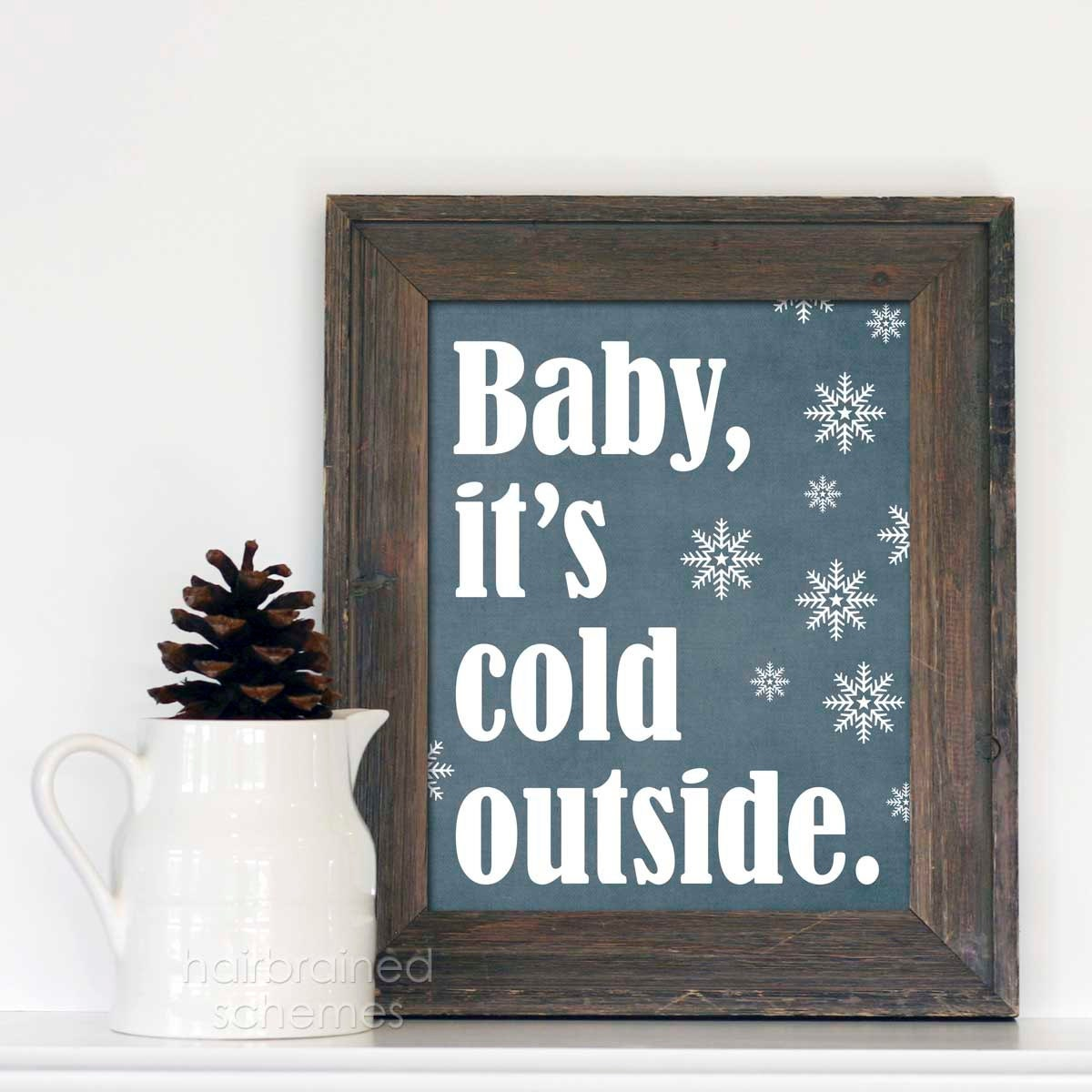 Digital Art Christmas Print Poster Baby It's Cold Outside Snowflake Art Print - Denim Blue Snowflakes - hairbrainedschemes