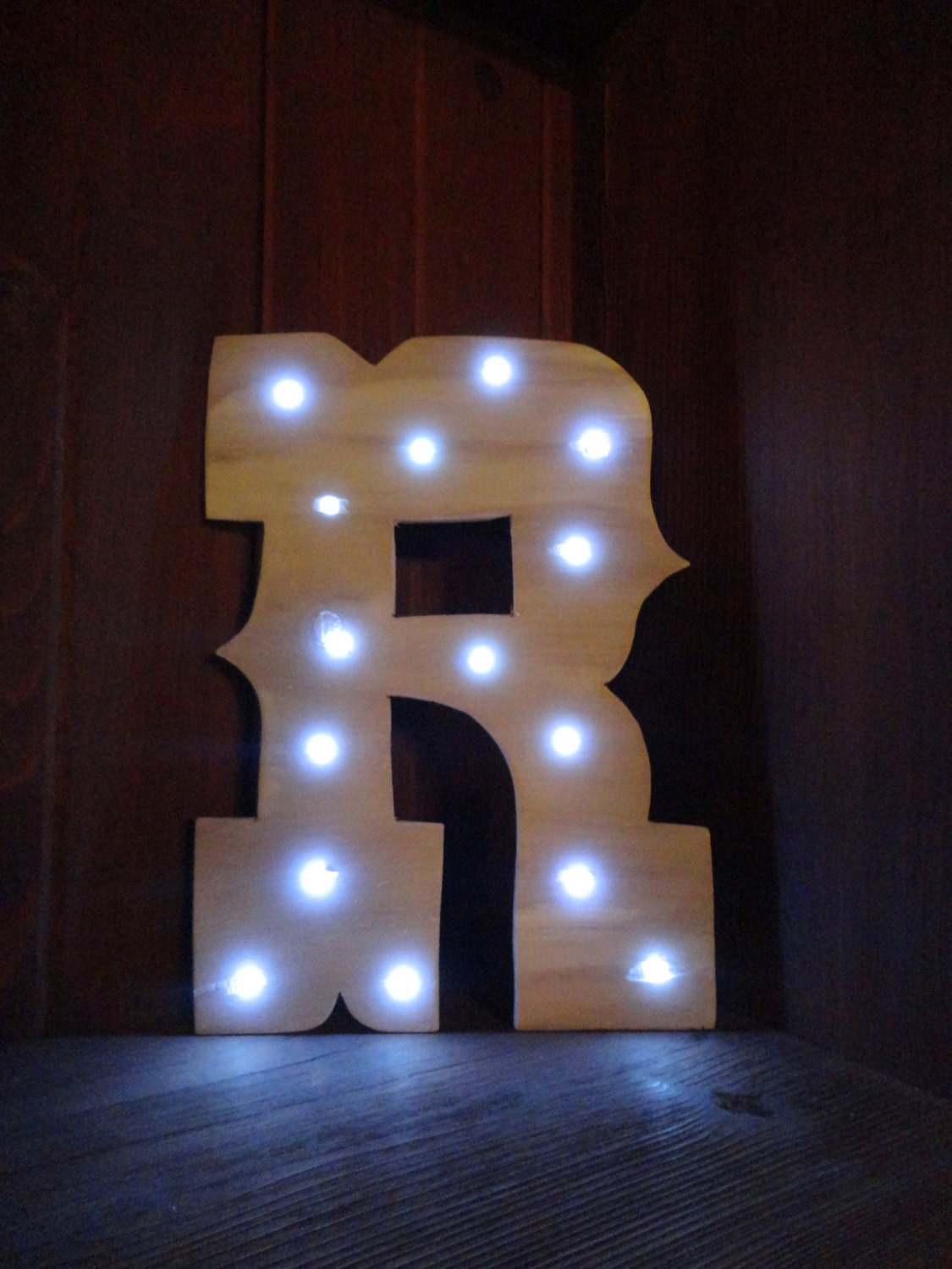 Wooden light up marquee letter western font by for Light up letters