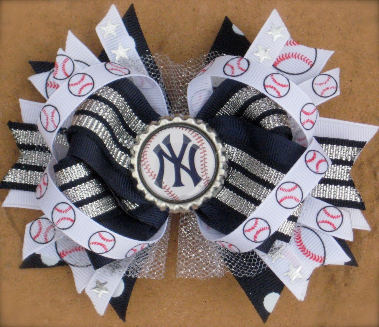 New York YANKEES HAIR BOW Boutique Style Bottle Cap Hair bow Over the ...