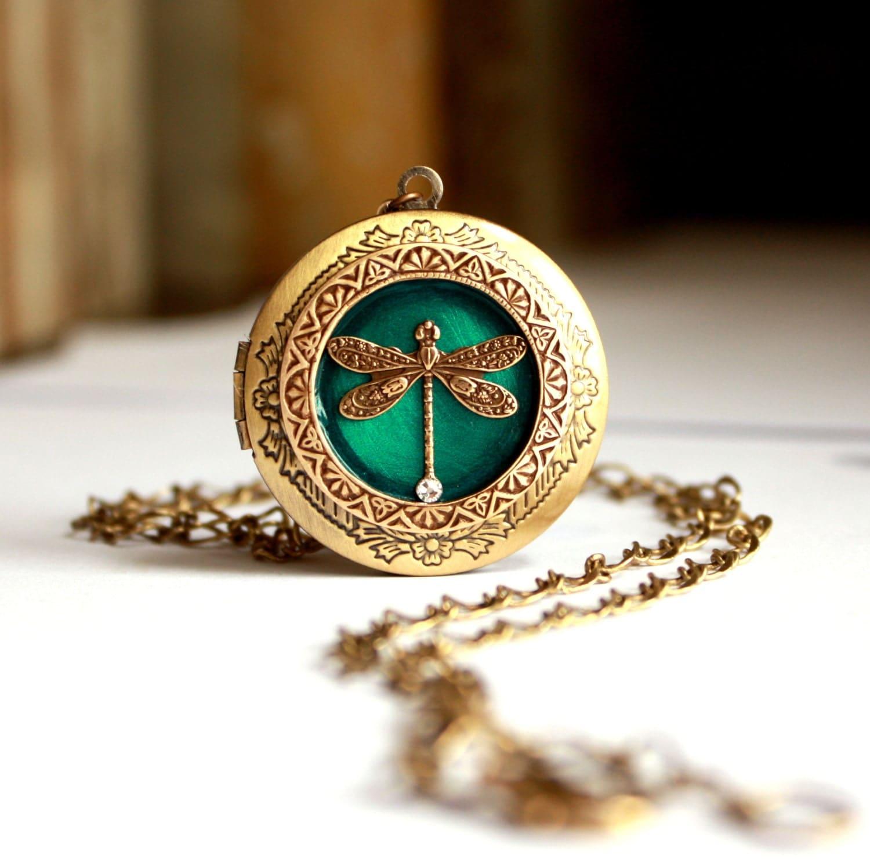Wedding Locket Necklace Women's Jewelry Blue Green Dragonfly Photo Picture Keepsake Brass Locket - MStevensonDesigns