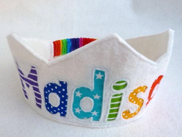 Rainbow Birthday Crown Felt Crown -  Personalized - FeltLikeCelebrating