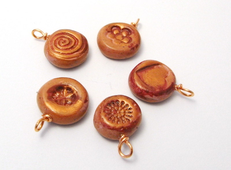 Handmade Beads Charms Terracotta and Copper Polymer Clay - averilpam