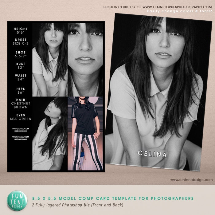 model comp card fashion profile template instant download