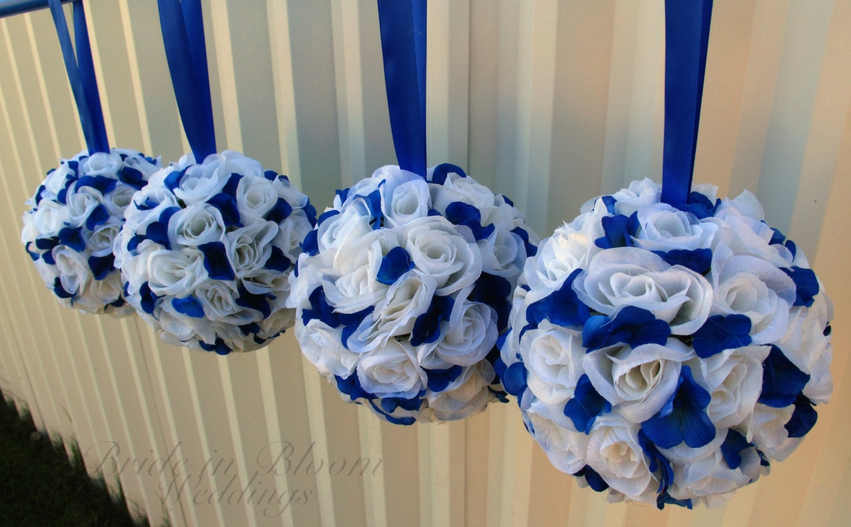 Wedding flower balls Royal blue white flower girl pomander Wedding ceremony decorations - BrideinBloomWeddings