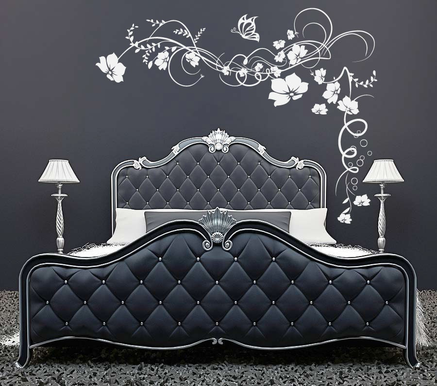 Large Flowers Butterfly vine wall sticker by 60SecondMakeover