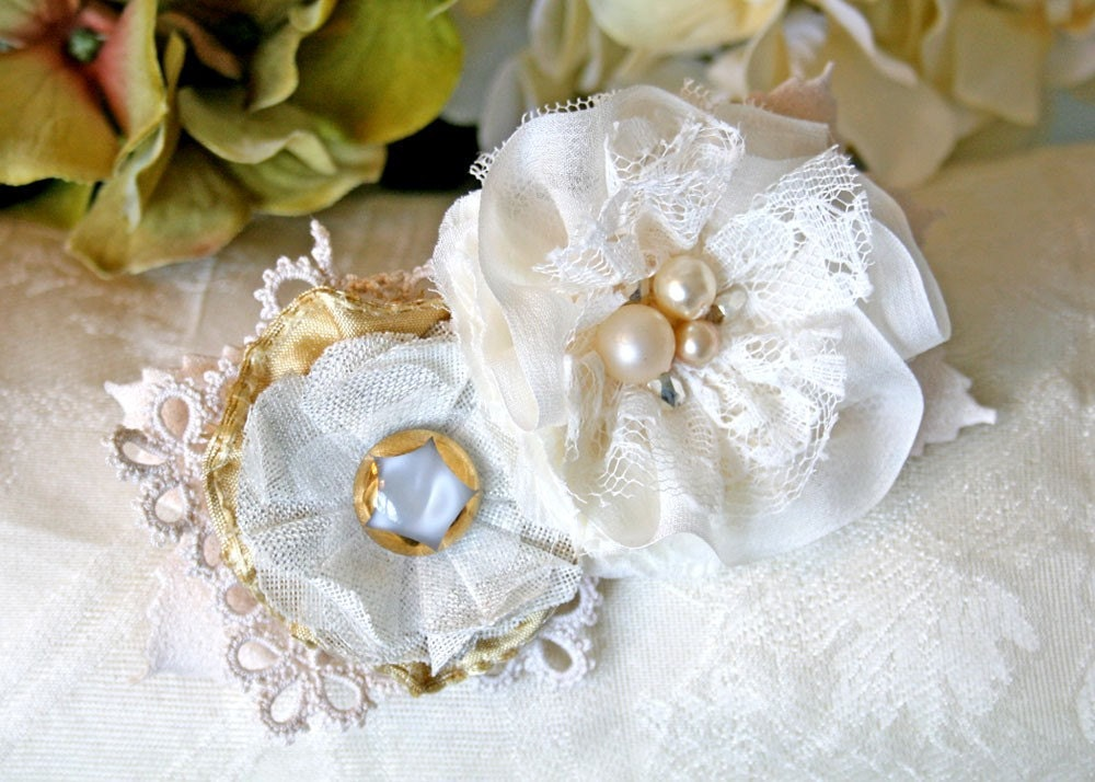 Bridal Flower Fascinator Hair Barrette Ivory White and Pearl