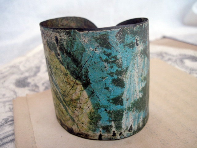 Alpine. Rustic Oxidized Cookie Tin Cuff.