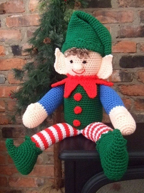 Little Elf Knitting Pattern : Crochet Pattern Christmas Elbert The Elf by CrochetVillage ...