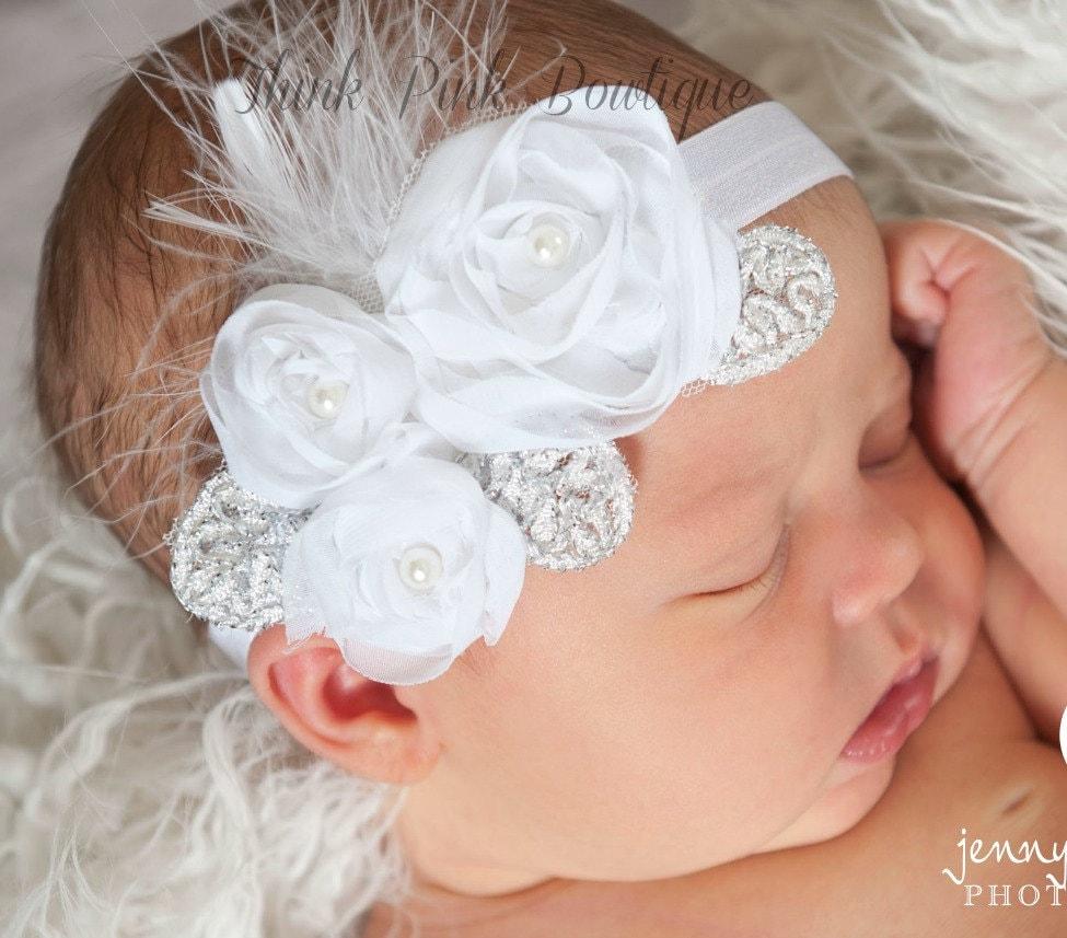 white headbandpink baby headbandchristening by thinkpinkbows white headbandpink baby headbandchristening by thinkpinkbows