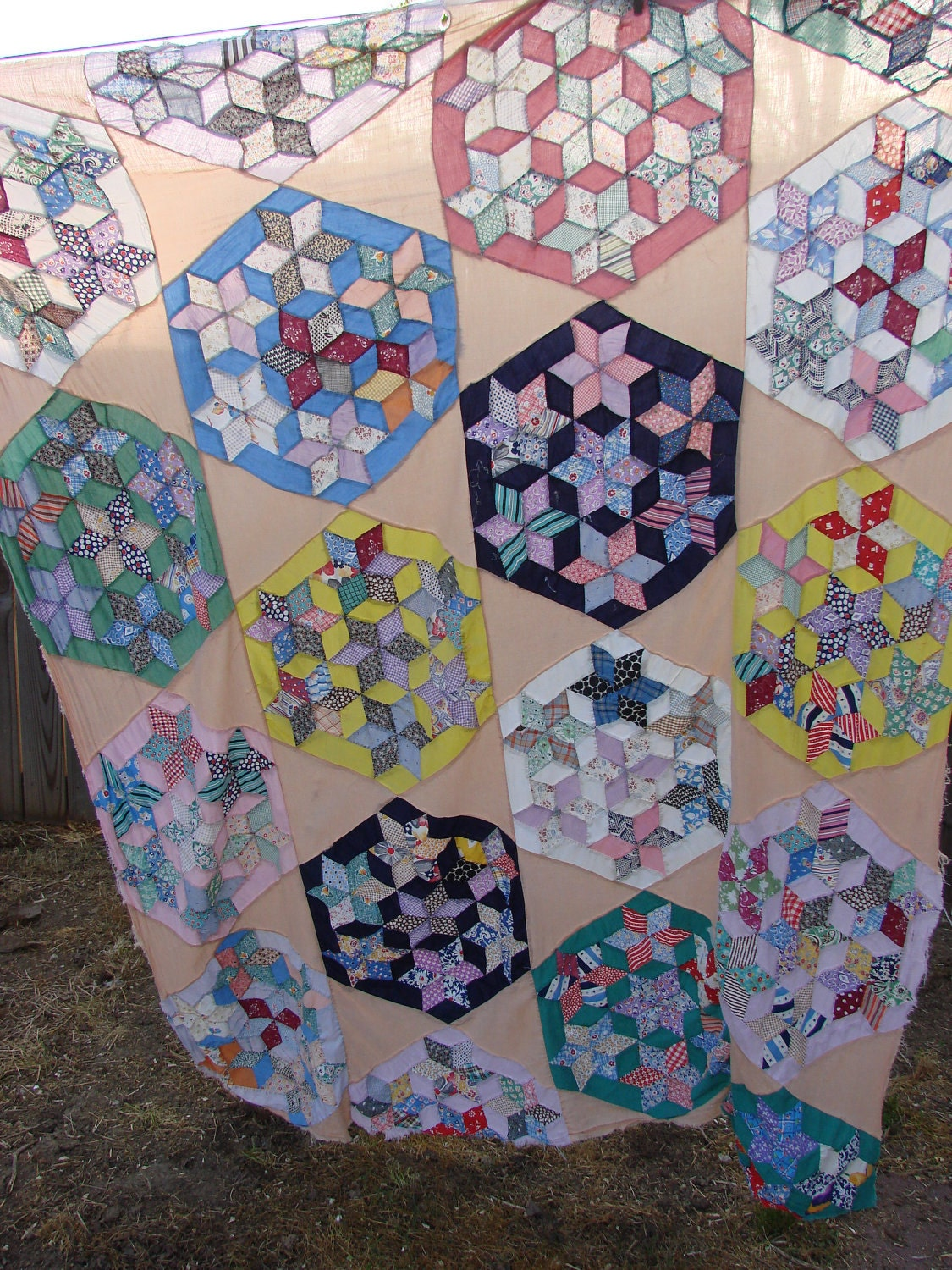 Vintage Seven Sisters Star Pattern Quilt Top by thecherrychic