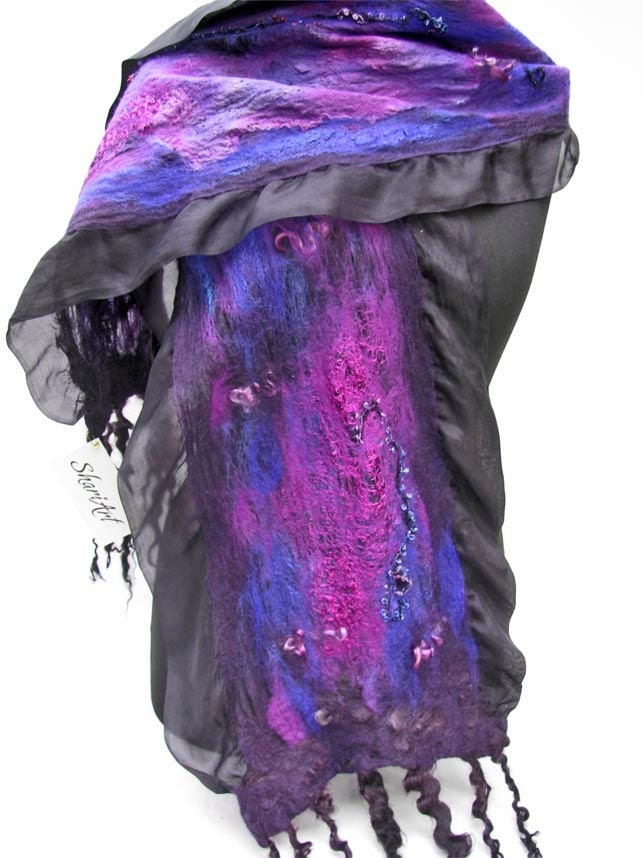 Unique Purple, Violet, Blue, Black Nuno Felted Scarf, Wrap, or Shawl, OOAK, Silk and Merino Wool - ShariArts