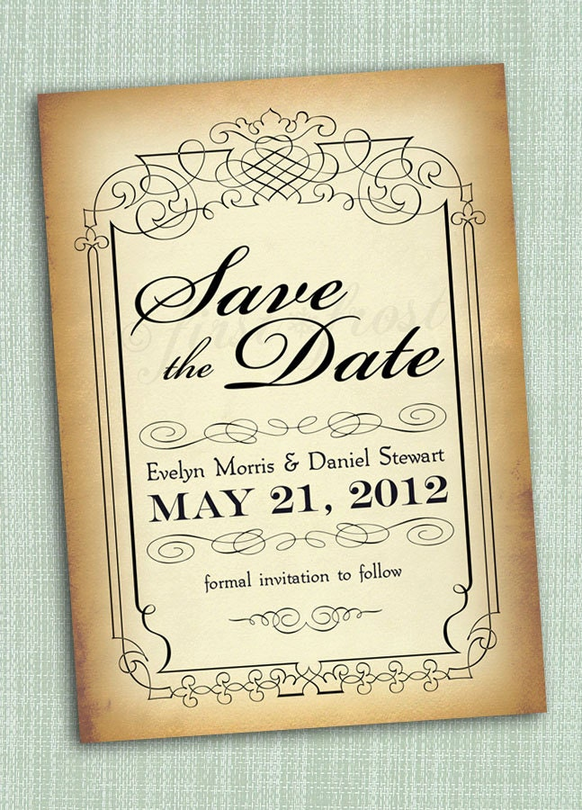 vintage style save the date printable card by firstfrostdesigns
