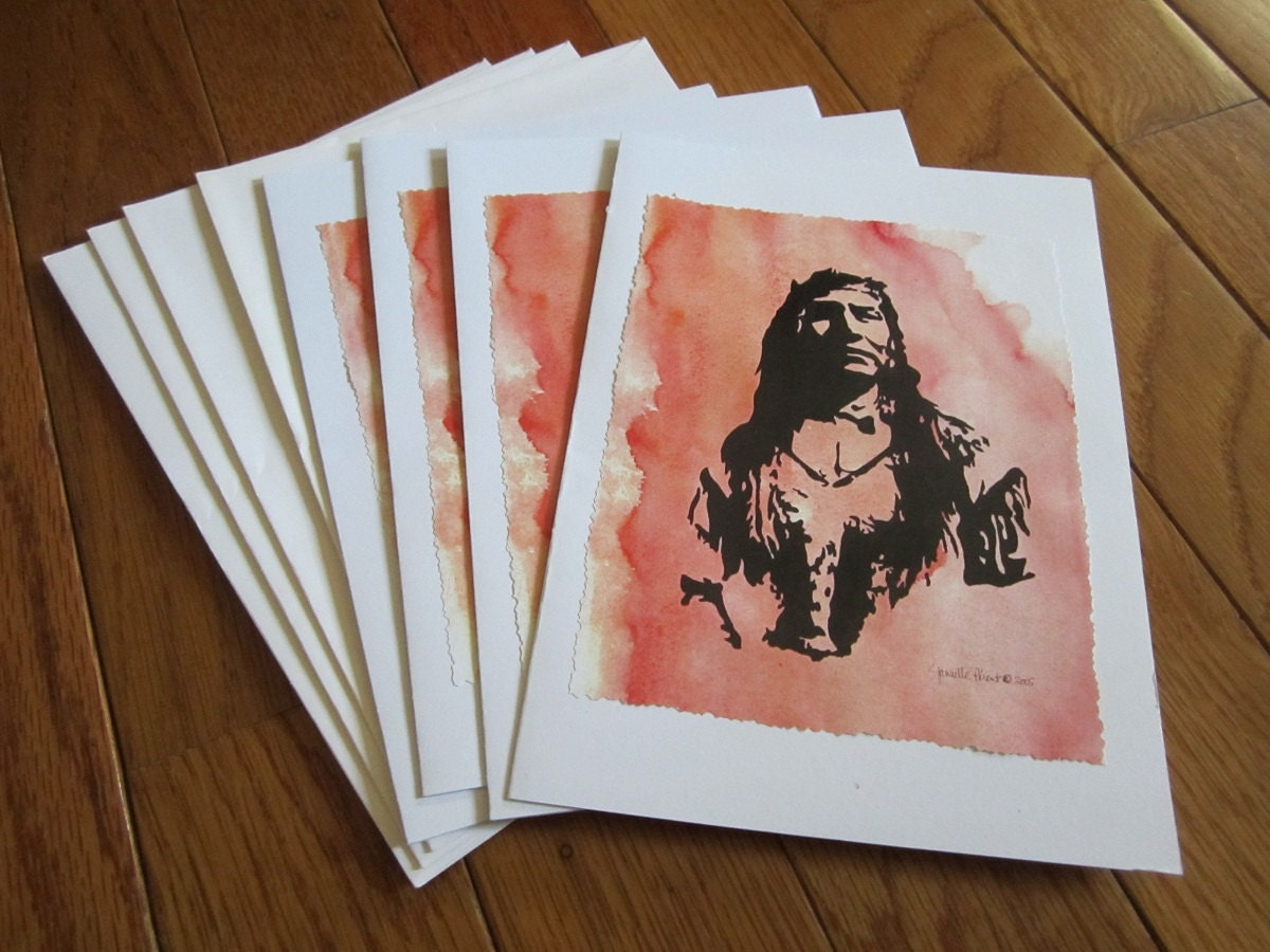 Native American Portrait Note Cards Vermillion Vision - apparentlyjannette