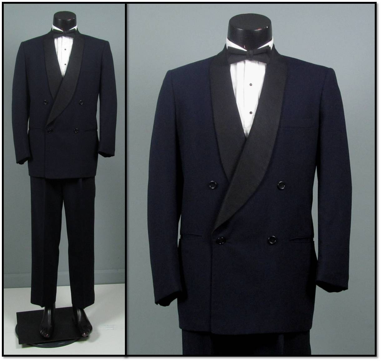 Vintage Tuxedo Mens 1950s MIDNIGHT BLUE Double Breasted Shawl Collar Two 2 Piece Mens Vintage Tuxedo - jauntyrooster