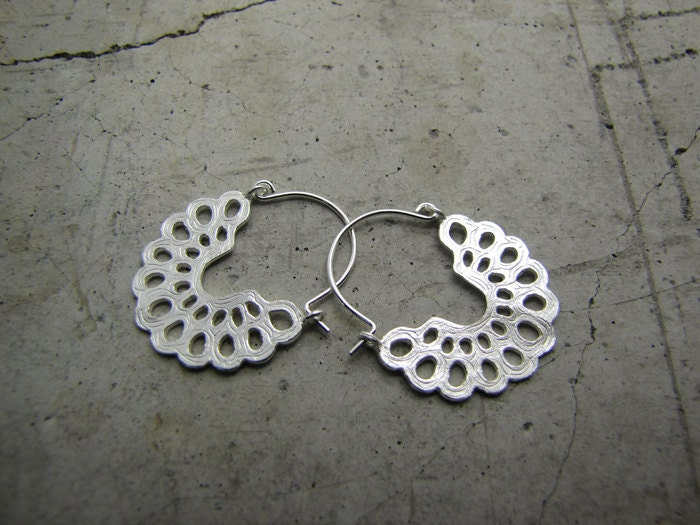 Small hoop earrings made from sterling silver - Lightweight dangle earrings