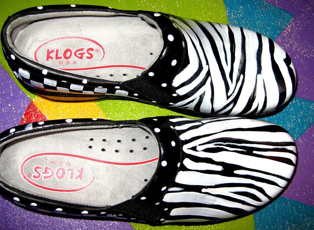 HAND painted Leather clog Zebra motif