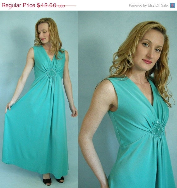 Holiday Sale GRECIAN 70s Glam Aqua Green Vintage by empressjade