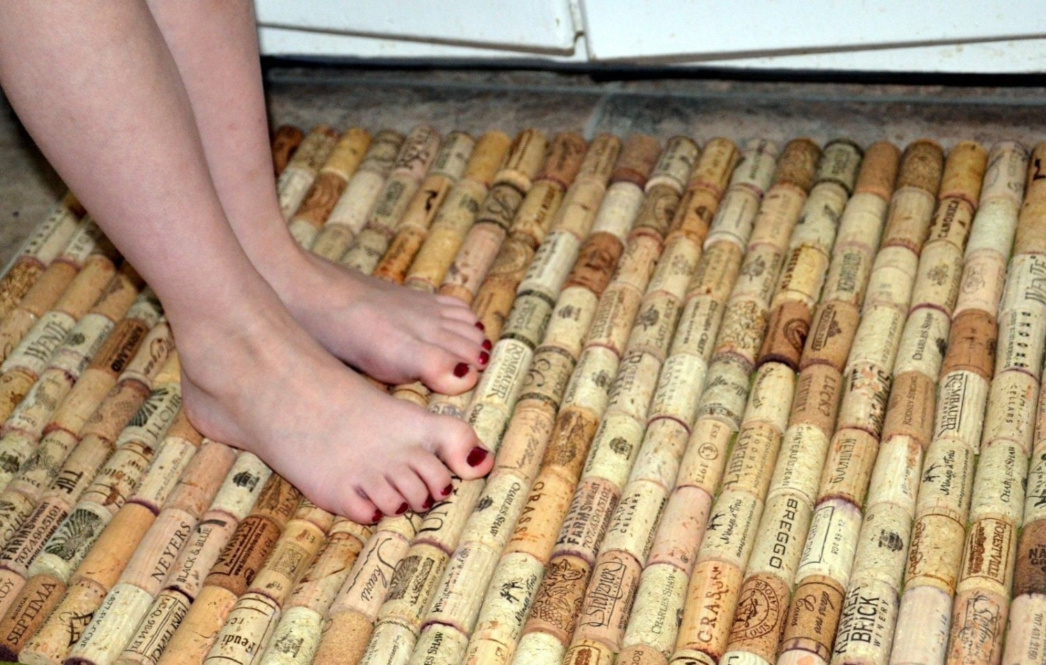 Wine Cork Rug Made With Recycled Corks Kitchen Sink