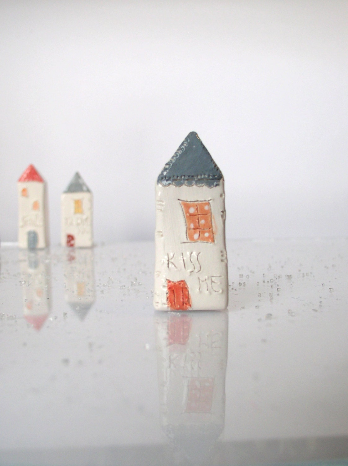 KISS ME...My little Clay House - Handmade miniature ceramics house - VitezArtGlassDesign