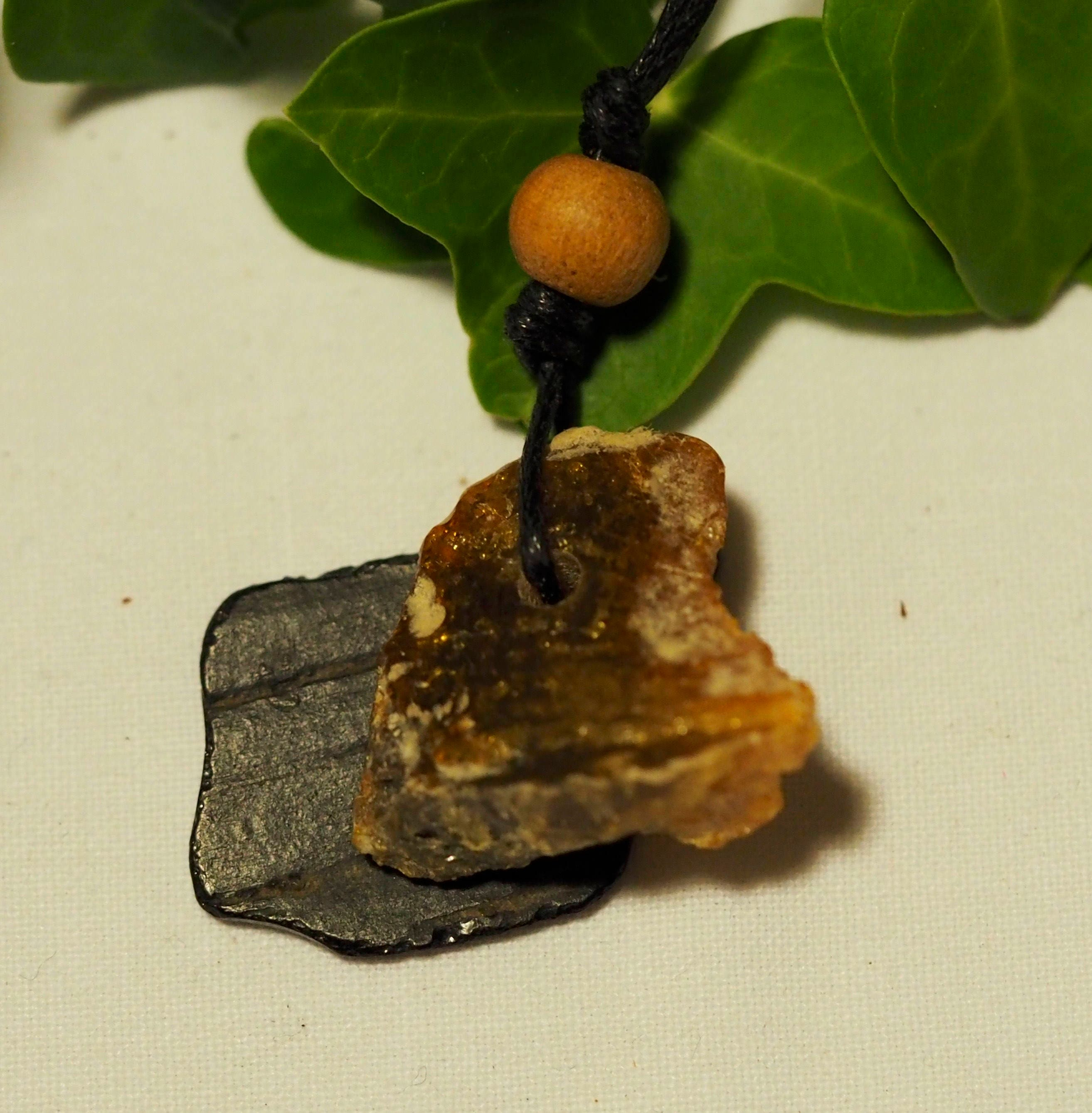 Baltic Amber and Whitby Jet Modern Pendant Necklace  Witchcraft Pagan Wicca Ritual