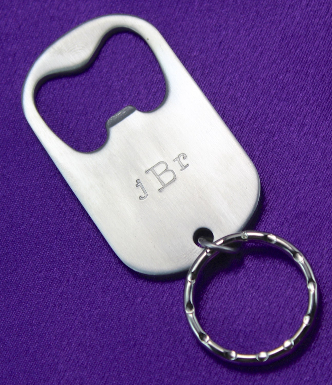 personalized monogram bottle opener dog tag by. Black Bedroom Furniture Sets. Home Design Ideas