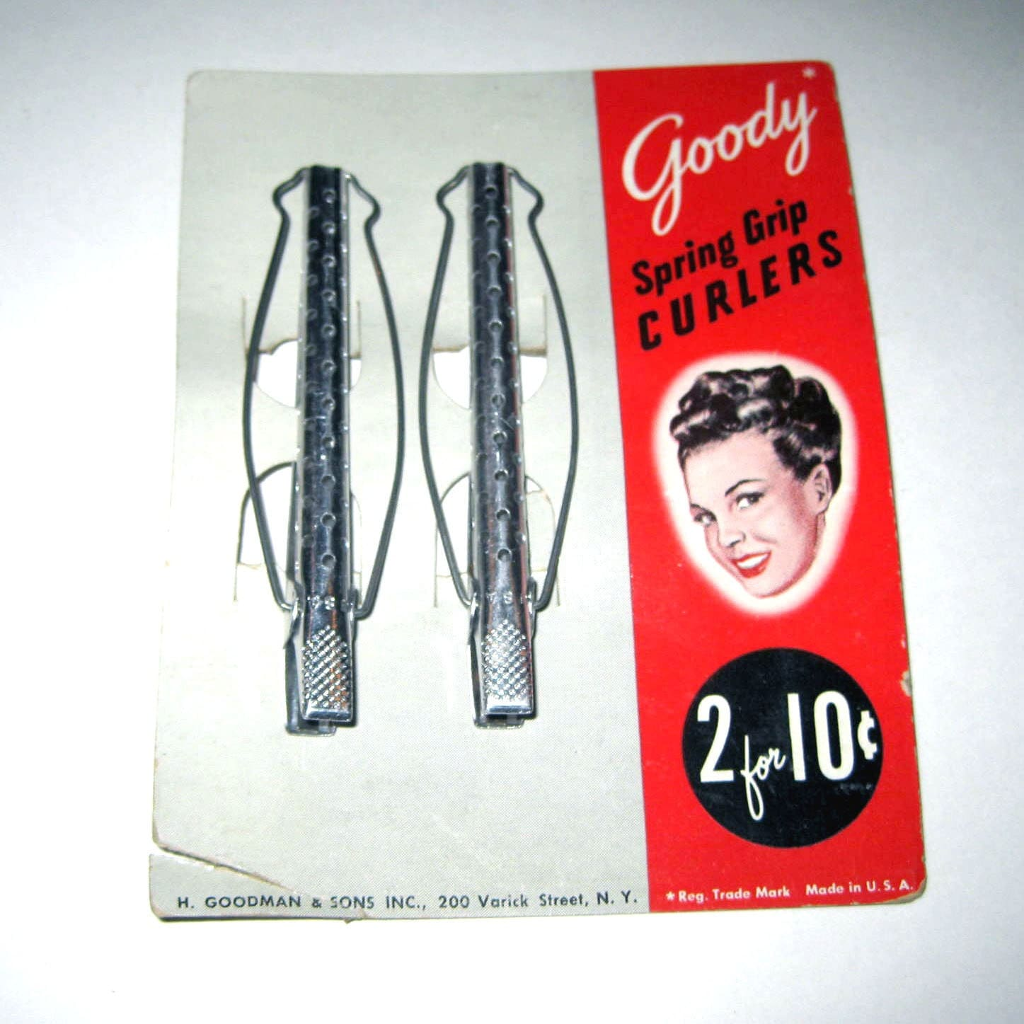 Vintage Goody Spring Grip Metal Hair Curlers on Original Card