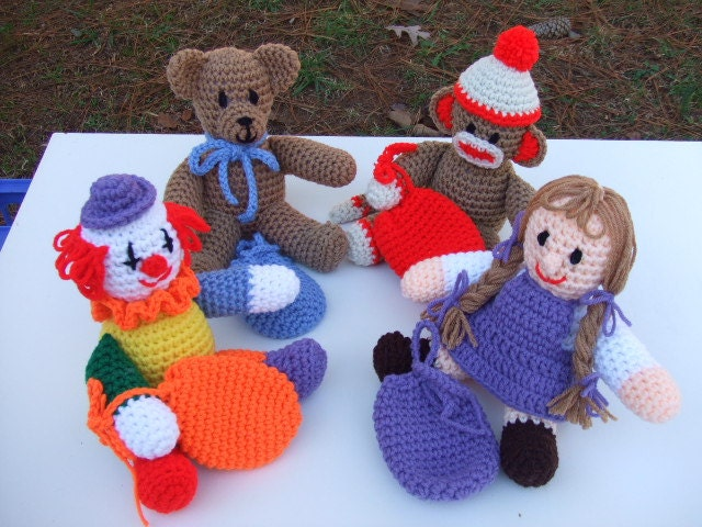 Crochet Pattern Sock Monkey, Bear, Clown and Doll, Toys and Animals