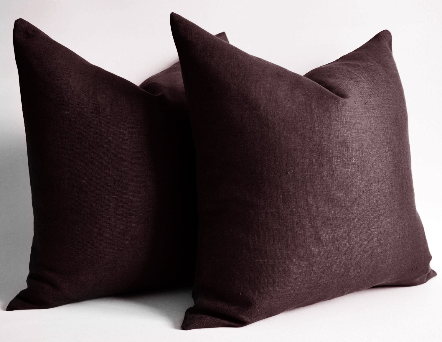 Sukan / SET of 2 Linen red brown throw pillows by sukanart