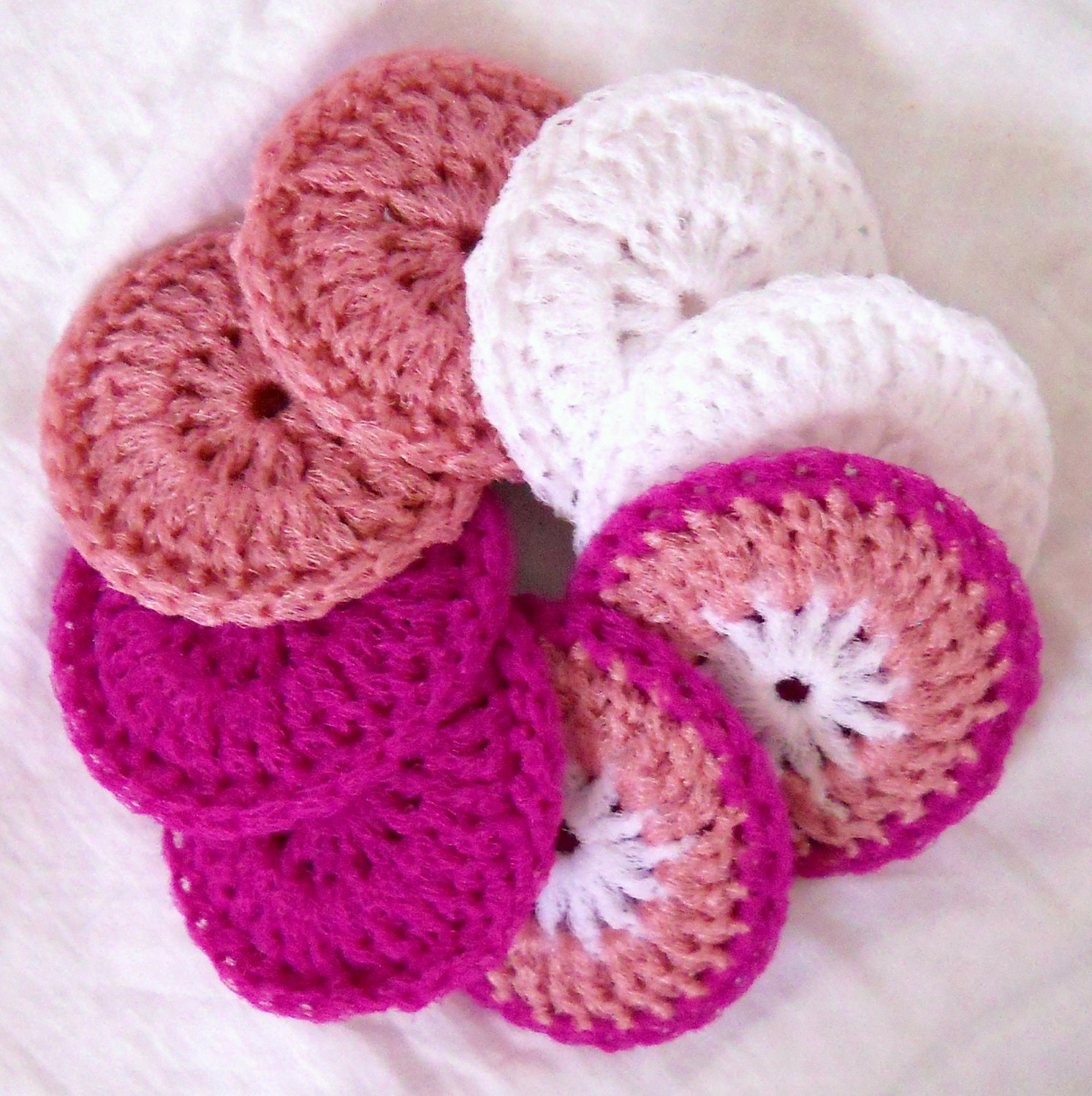 Crocheting Scrubbies With Netting : Crochet Nylon Dish Scrubbies - Set of 8 - Valentine Collection - Pink ...