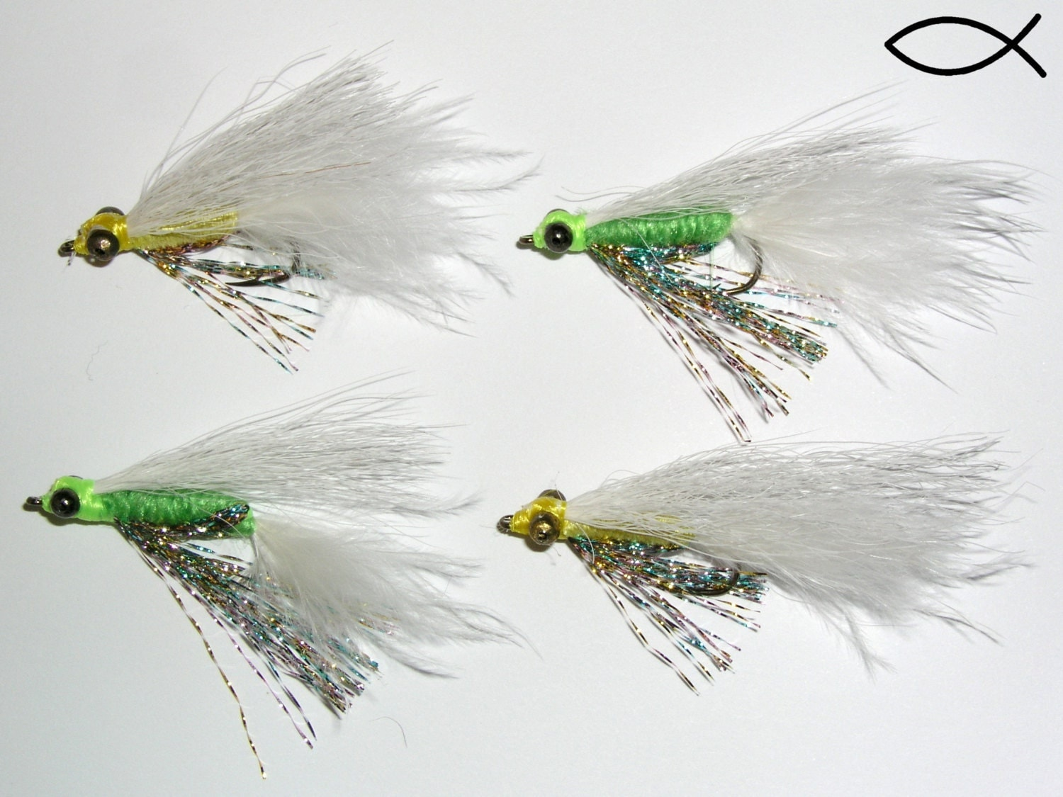 Crappie candy fly fishing flies set of 4 hand by nachosflies for Bluegill fly fishing