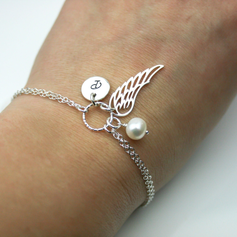 Personalized Angel Wing Bracelet in Sterling Silver  Adjustable Personalized Bracelet