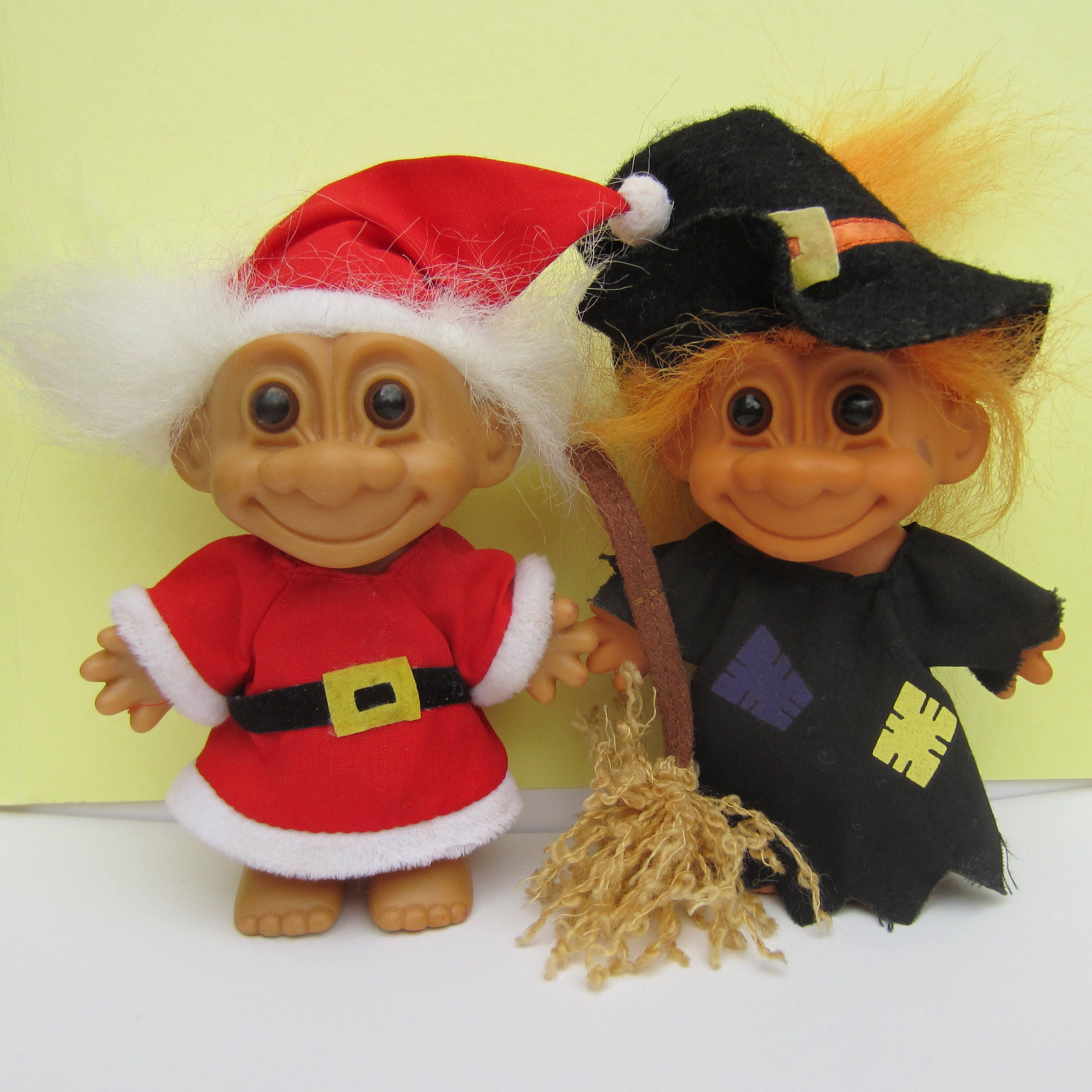 2 Russ Trolls  Halloween Witch Troll and Father Christmas Santa Claus Troll