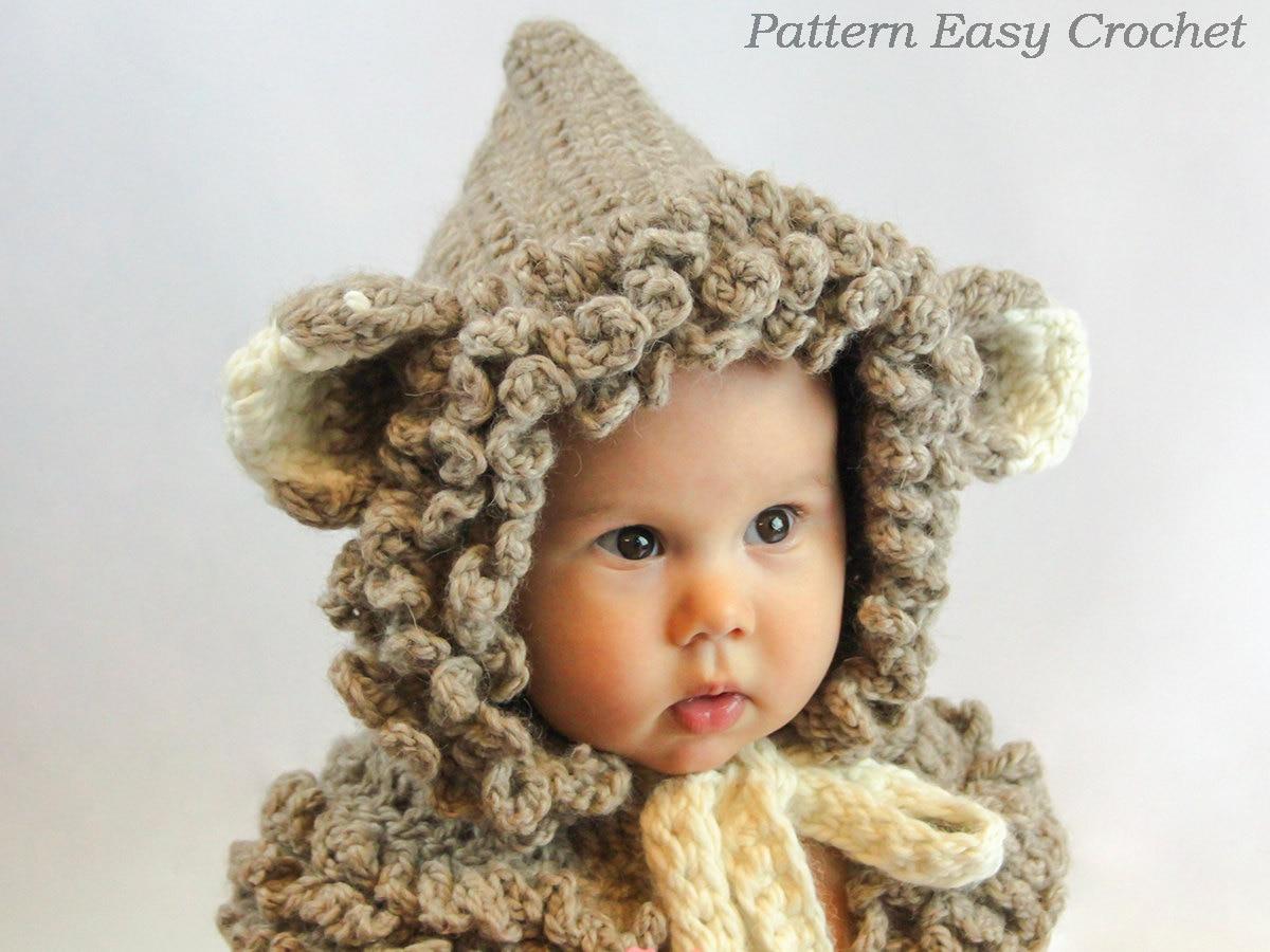 Crochet Pattern Cowl hat hooded in 4 sizes from by easycrochet