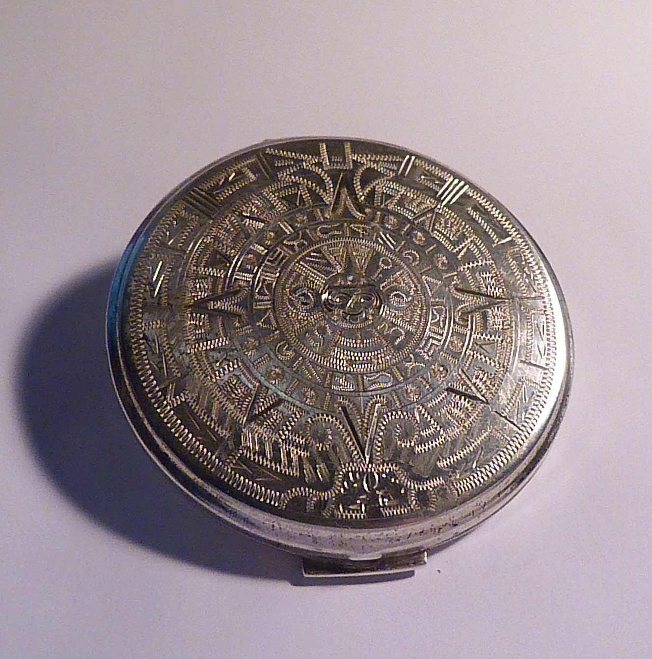 Vintage solid silver comact mirrors Mayan calendar MAYAN CALENDAR MEXICAN themed sterling powder compact bridesmaids gifts something old