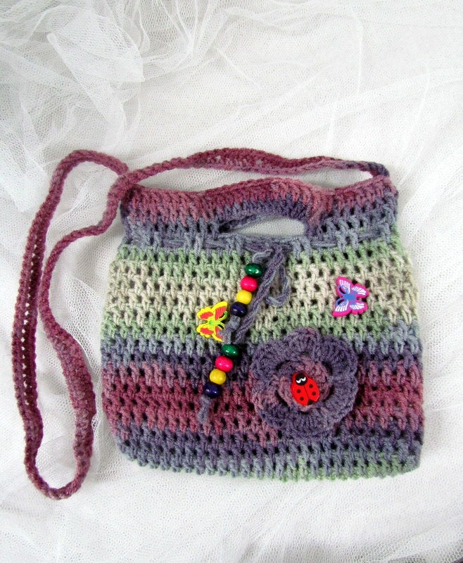Crochet Purse For Child : Small Crochet Purse. Crochet Clutch. Childrens Crochet Purse