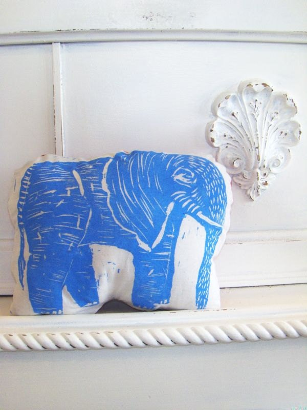 Plush Elephant Pillow in Blue. Woodblock Printed.