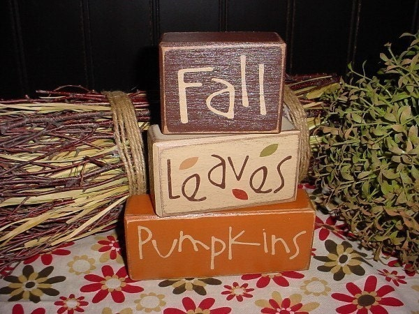 Fall LEAVES Pumpkins Autumn HARVEST Wood by SimpleBlockSayings