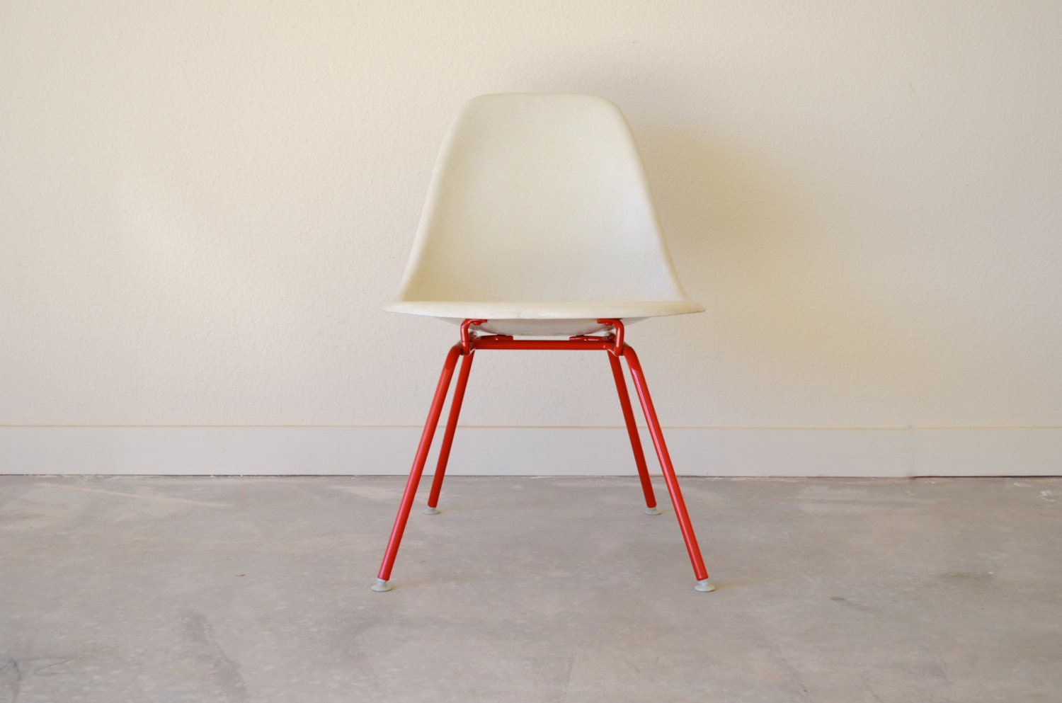 Eames for Herman Miller Fiberglass Side Chair - LSX - Parchment Side Chair - Powder Coated Base - Step3CoOp