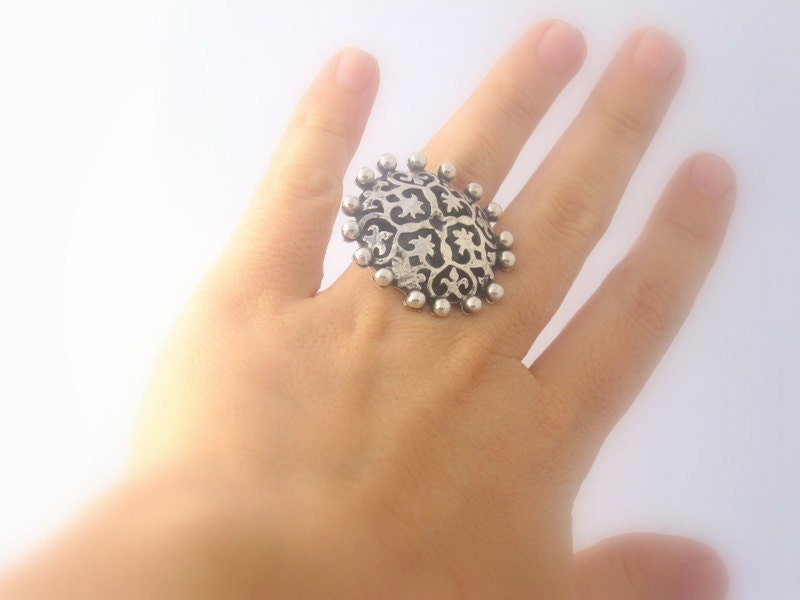 Big Ring - Turkish Ornament Design -  Sterling Silver - Adjustable - Handmade to order - serpilguneysudesigns