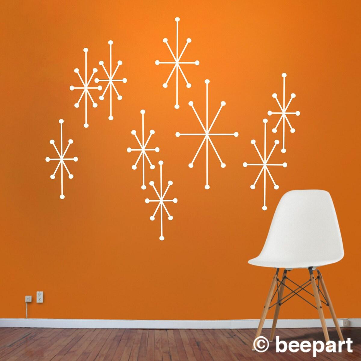 atomic starbursts vinyl wall decals mid century modern by
